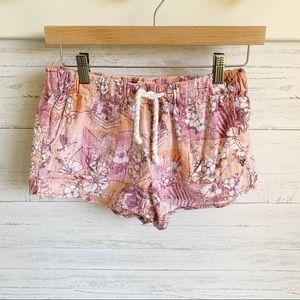 Aritzia TNA Floral Linen Cotton Drawstring Shorts
